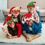 sanmubo*4Pcs耶誕節裝飾品亮片眼鏡服裝派對眼鏡精靈眼鏡框架成人兒童派對裝扮道具