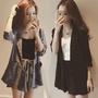 2019春季新款韓版網紅七分袖格子西裝套裝女夏裝闊腿短褲兩件套女