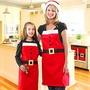 白色蕾絲花邊三顆鈕扣黑腰帶聖誕節圍裙【BlueCat】【XM0275】