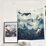 海洋世界美人魚直式掛布 掛毯 墻面裝飾 隔斷門簾 遮光窗簾