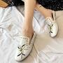 歐美時尚單鞋2017新款鉚釘繡花鞋子踩跟半拖鞋平底鞋兩穿女鞋夏季