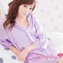 【lingling】A147全尺碼-誘惑心機襯衫式絲緞連身睡衣(優雅淺紫)