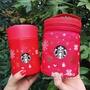 【鈤系系】星巴克杯子2018年圣誕禮物紅色溫暖圣誕不銹鋼燜燒罐含杯套470ml