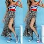 NFW♥新款女裝豹紋印花半身裙分體繃帶沙灘晚禮服連衣裙S-XL