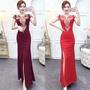 新娘敬酒服新款夏款現代紅色長款魚尾長裙修身性感氣質結婚禮服女
