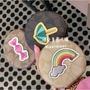 咩兒美國代購🌈Coach 防刮皮革logo拼接可愛圖案 糖果 陽傘彩虹 圓形零錢包掛飾