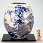 《富樂雅居》日本製 九谷燒 金山水 花瓶 附花台 22.5*26cm