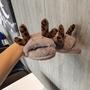 專柜圣誕系列麋鹿新款豹紋耳朵毛毛拖鞋女士居家軟底保暖一字拖鞋