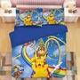 【宅配免運】皮卡丘床包組四件套 寶可夢小精靈 皮卡丘四件套  磨毛3D印花卡通床包組卡通四件套 雙人床包雙人加大床包