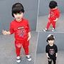 2019新款韓版童套裝男童中小童兒童蜘蛛人兩件套童裝純色主打時尚潮流