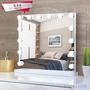 哈麥琪-大號LED化妝鏡 帶燈泡 ins梳妝臺式 高清方形公主鏡子 美容鏡補光臥室