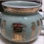 佛具用品 瓷器祖先爐 百壽公媽爐 瓷爐(21*14*11 口徑11cm)<近全新>