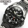 * MADE IN JAPAN * SEIKO 5 SPORTS FULL BLACK PVD STEEL MENS AUTOMATIC CASUAL WATCH SNZE83J