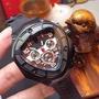 Lamborghini 蘭博基尼精品男士腕表卓越腕時計天然橡膠表帶+原裝折疊扣 礦物質鋼化玻璃 車頭機械錶