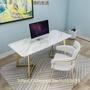【简约生活】 北歐大理石電腦桌輕奢書桌現代簡約辦公桌ins網紅臥室白色寫字桌