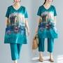 新款民族風女裝復古印花寬松大碼上衣+七分褲兩件套裝