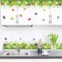 現貨! 3D立體田園風花草踢腳線壁貼 彩色蝴蝶 植物花卉 居家裝飾 房間牆面壁紙 PVC 環保可移除