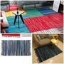 可機洗 IKEA風編織感大地毯 藍色系 棉布編織地毯 大地墊 平織地毯 亞麻麻布地毯 客廳房間臥室民族風地毯地墊 無印風