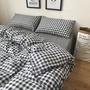 meet家紡 專柜品質格子控床包全棉四件套簡約格子加大床包純棉床單被套學生宿舍床上三件套床包雙人床包組 送男朋友生日禮物