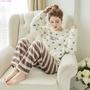 冬季珊瑚絨睡衣女可愛字母桃心條紋褲法蘭絨家居服秋天長袖套裝