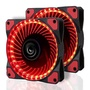 2 Pack LeaningTech LTC LitFlow 120mm 32 LED Quiet Long Life High Airflow Cooling PC Case fan for Computer Case, CPU Cooler and Radiator Red - intl