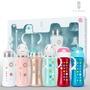 【L.A. Baby】四階段316超輕不鏽鋼保溫奶瓶成長禮盒組270ml 15件組(藍 白 紅 金 粉 紫)