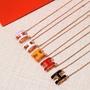 歐美代購正品Hermes愛馬仕項鏈2019新款琺琅H字母吊墜鎖骨鏈玫瑰金邊橢圓免運