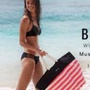 全新Victoria's Secret 維多利雅的秘密,大容量布面條文托特包水餃包海灘包