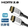 【True】4K 60fps HDMI 2.0 地線抗靜電 20滿芯 超高畫質傳輸線 1米 鍍金接頭(HDMI 1M 公對公)