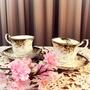 已讓藏~英國 Royal Albert Royal ascot 骨瓷描金邊杯盤二件組 花茶下午茶 老件收藏