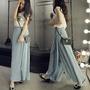 SISI【P6049】 超顯瘦優雅飄逸百搭百褶寬管褲不對稱高腰雪紡長裙褲裙