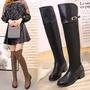 2019冬季新款女式長筒靴過膝粗跟防水臺保暖防滑圓頭套筒套鞋女