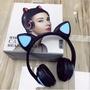 新款頭戴式無線藍牙貓耳朵耳機 主播直播賣萌動漫耳機 發光耳機