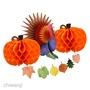 感恩節南瓜土耳其火雞蜂窩楓葉橫幅黨裝飾套件