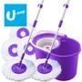 【U-mop】 旋轉脫水拖把組 2桿1桶5布  拖把組 懶人拖把 打掃用品 不沾手免沾手 拖地神器