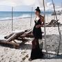 Breeze 歐美 性感 黑色 超低胸 V領 大露背 細肩帶 長洋裝 露背洋裝 黑色 網紗 比基尼罩衫 連衣裙 AU73