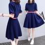 新款夏季韓版 修身 顯瘦 假兩件 a字 連衣裙女 學生可愛小清新衣服
