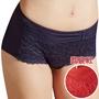 思薇爾 撩波系列M-XL蕾絲中低腰平口褲(翡宴紅)