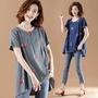 【KVOLL】休閒寬鬆刺繡棉麻短袖T恤XL-5XL(共兩色)