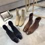 方頭短靴女單靴韓版百搭粗跟襪靴女中跟針織彈力靴女  名購居家