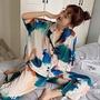 【三角衣櫃】夏季韓版2019新款寬鬆薄款時尚紮染慵懶風短袖襯衫少女睡衣兩件套