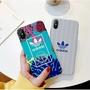 三葉草系列 Adidas 情侶款 iPhone XS Max XR玻璃殼 6s/7/8/Plus/iX時尚潮流全包手機殼
