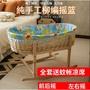 私語家居の搖籃嬰兒籃便攜式手提籃藤編柳編睡籃車載嬰兒床嬰兒藍帶滾輪