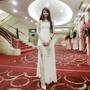 白色立體玫瑰花瓣削肩造型開衩長洋裝/禮服