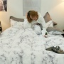 ins北歐大理石紋 雙人床包組 簡約床上用品四件套 單人床包組 大理石紋床單 被套宿舍三件套 四件套