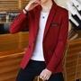 西裝男士外套秋季青年韓版學生帥氣單上衣紅色小西裝男休閒西服潮