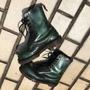 英國製 Dr.martens 馬汀大夫10孔厚底真皮靴 綠金龜子色 復古黑綠刷色 馬丁 有磨損如圖 尺寸UK5