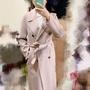 Kashin 藕粉色手工羊毛大衣外套/羊毛100%/附綁帶~好輕~好保暖(正韓貨)
