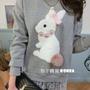 梨子韓貨~正韓 韓國可愛兔子毛球併接蕾絲上衣(灰色)