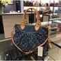 LV Louis Vuitton 藍色牛仔丹寧布手提包 肩背包 兩用包 (Y1135)